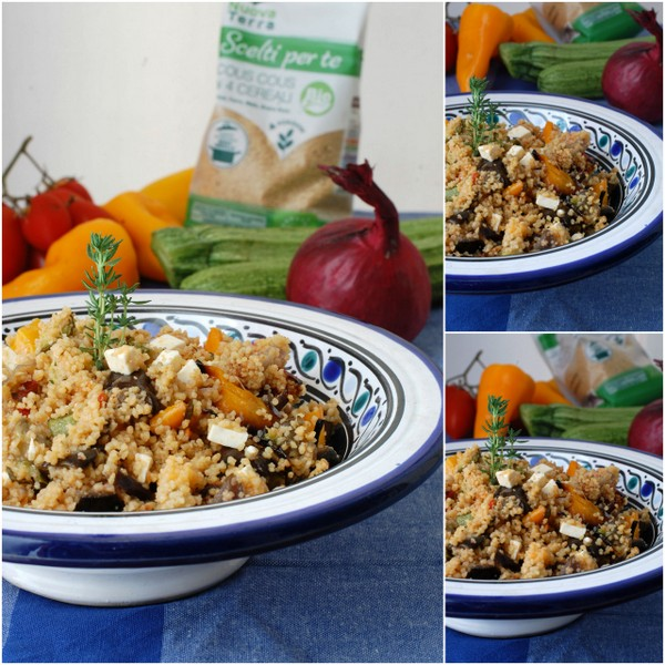 Cous cous in insalata con verdure arrostite collage